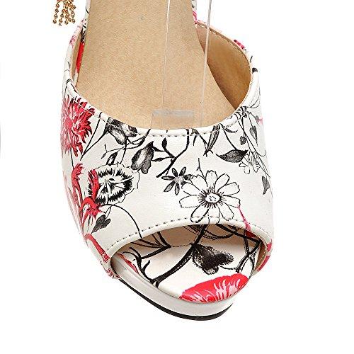 Tacco A Spillo Da Donna Con Tacco A Spillo E Cinturino Alla Caviglia Con Cinturino Stampato Fiore Sandalo Rosso