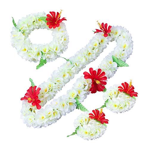 LAYSERI Hawaiian Luau Flower Leis Jumbo Necklace Bracelets Headband Set Mahalo Floral Leis (White) -
