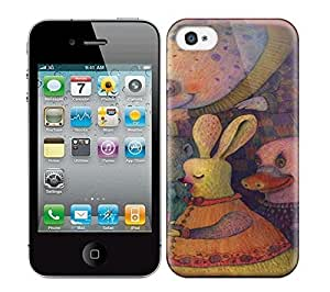 Best Power(Tm) HD Colorful Painted Watercolor A Drawing By Vladimir Stankovic Of A Narwhal And A Bunny Giving A Kid A Cup Of Tea Hard Phone Case For Iphone 4/4S wangjiang maoyi