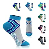 NEWZILL Low Cut Compression Socks - Unisex Running Socks with Embedded Frequency Technology for Heel, Ankle & Arch Support (Large, Light Blue/Grey)