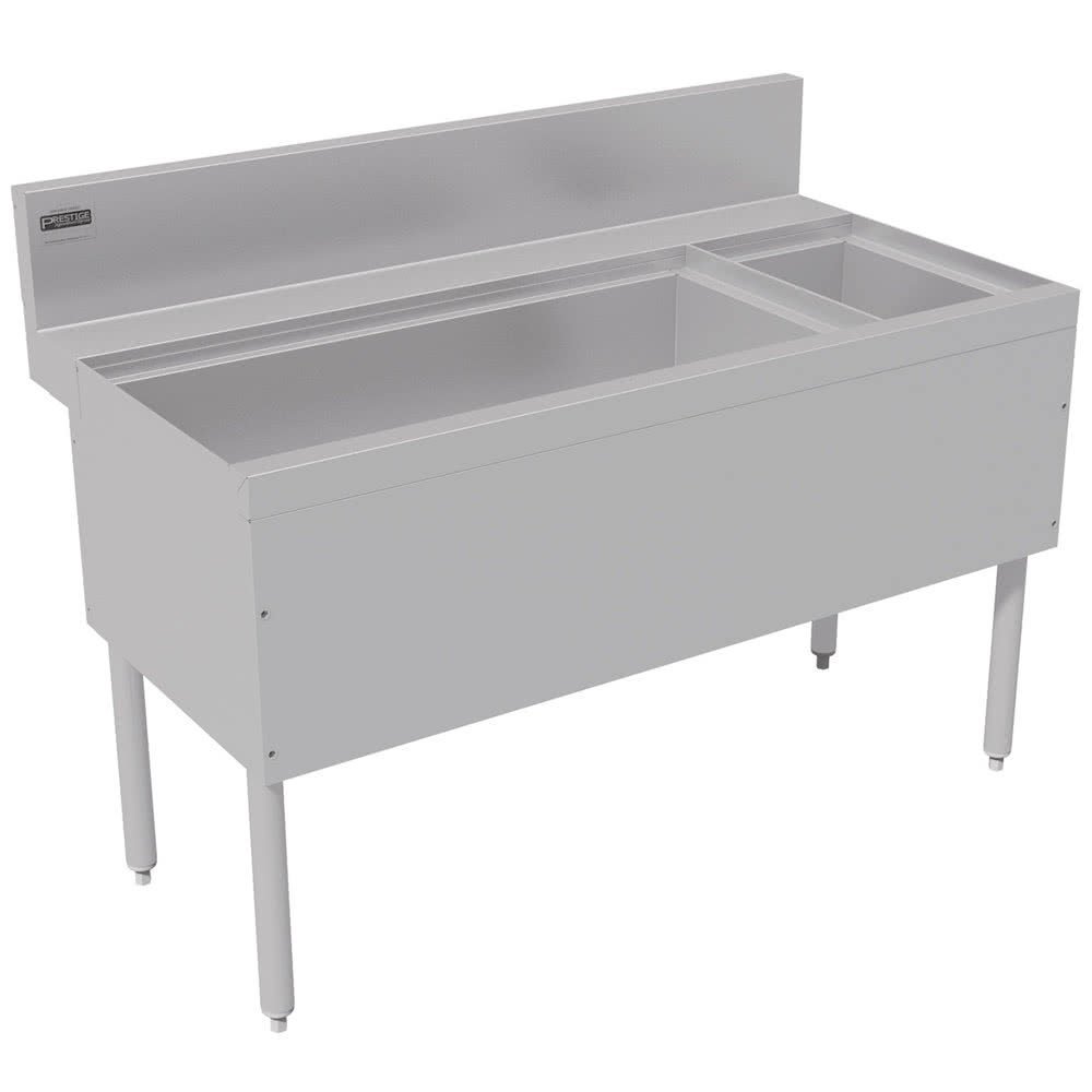 Advance Tabco PRC-24-42L-10 Prestige Series Stainless Steel Ice Bin and Bottle Storage Combo Unit with 10-Circuit Cold Plate - 25'' x 42'' (Left Side Ice Bin)