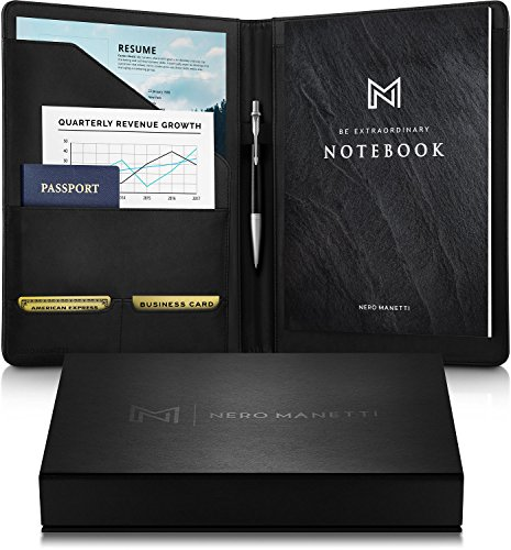 NERO MANETTI- Leather Portfolio Folder Professional Notebook- Business PU Leather Portfolio Notepad Holder for Resumes, Legal Pad Portfolio Binder for Women/Men Black Professional Padfolio (Custom Writing Pads)