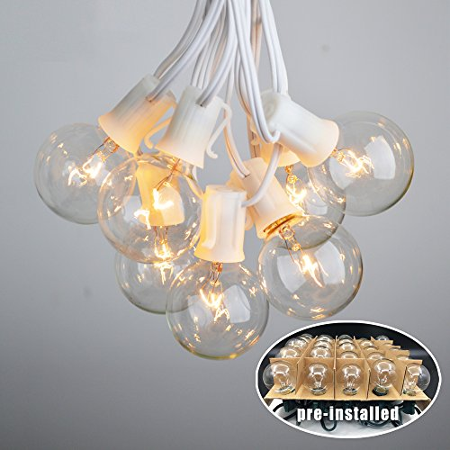 Vidagoods 100 Foot Outdoor Lighting Garden Fairy Backyard Market Xmas Holiday Patio Party Globe String Lights with Intermediate Base Sockets + 90 Clear Bulb Set (G50-100 Socket, White) - Intermediate Base String Light