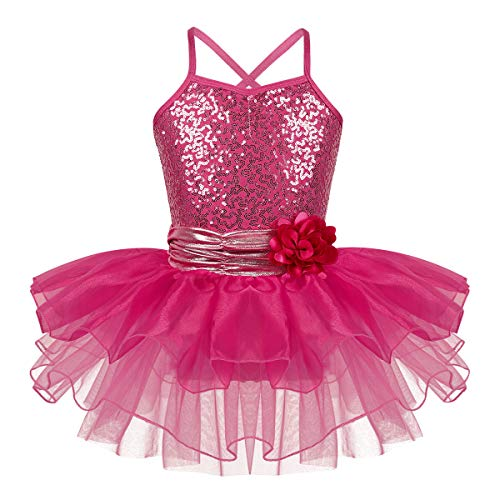 Freebily Girls Sequined Camisole Leotard Ballet Tutu Layers Skirt Dress Ballerina Dancewear Costumes Rose_Red Waist with a Removable Flower Brooch 4-5 ()
