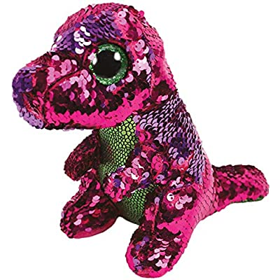"""Ty Flippable STOMPY The Pink/Green Sequin Dinosaur - 6"""": Toys & Games"""