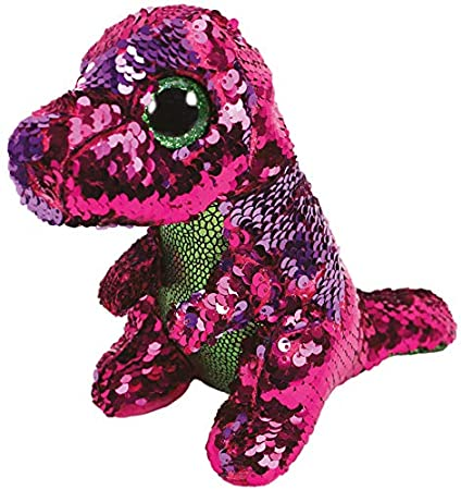 Amazon.com  Ty Flippable STOMPY The Pink Green Sequin Dinosaur - 6 ... 5d4052a3f1c3