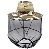 Luwint Mosquito Head Net Hat, Camo Sun Hat Beekeeper Hat with Insect Repellent Netting Protection from Bug Bee Mosquito for Outdoor Fishing Gardening Camping Hiking Beekeeping