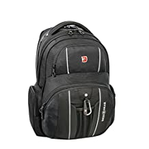 Swiss Gear Under Seat Size Rainproof Backpack for Laptop - Holds Up to 17.3-Inch Laptop, Black