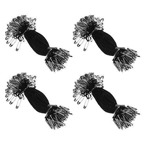 BCP 4inches 400pcs Nylon Garment Hang Tag String Clothing Lanyard Tag Rope with Safety Pin (Black Color) for sale