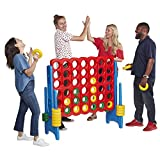 outdoor chess table ECR4Kids Jumbo 4-to-Score Giant Game Set, Backyard Games for Kids, Jumbo Connect-All-4 Game Set, Indoor or Outdoor Game, Adult and Family Fun Game, Easy to Transport, 4 Feet Tall, Primary Colors