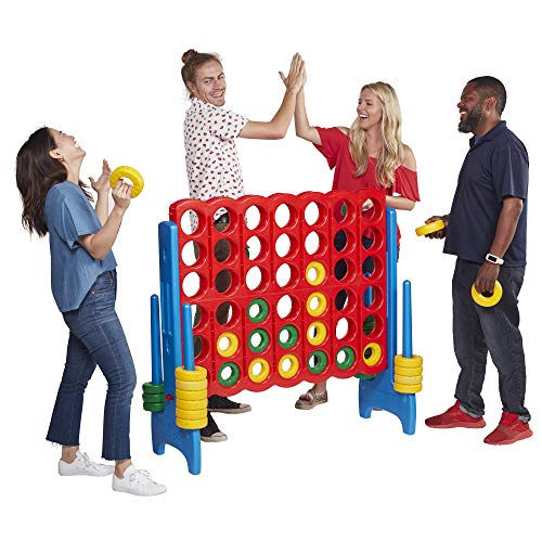 ECR4Kids Jumbo 4-to-Score Giant Game Set, Backyard Games for Kids, Jumbo Connect-All-4 Game Set, Indoor or Outdoor Game, Adult and Family Fun Game, Easy to Transport, 4 Feet Tall, Primary Colors -