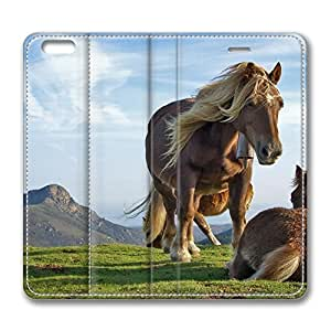 iPhone 6 4.7inch Leather Case - Mountain Horses Fashion Luxury Protective Slim Fit Skin Leather Cover For Iphone 6 [Stand Feature] [Slim - fit] Flip Leather Case Cover for New iPhone 6 wangjiang maoyi
