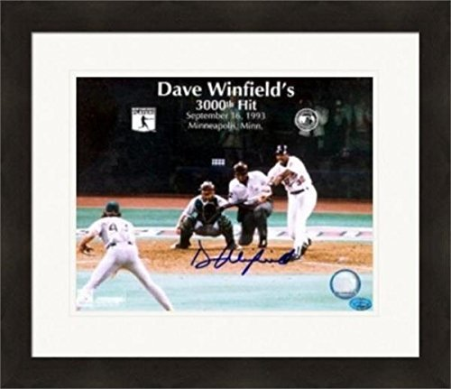 Autographed Winfield Photo - 8x10 3000th Hit Matted & Framed - Autographed MLB -