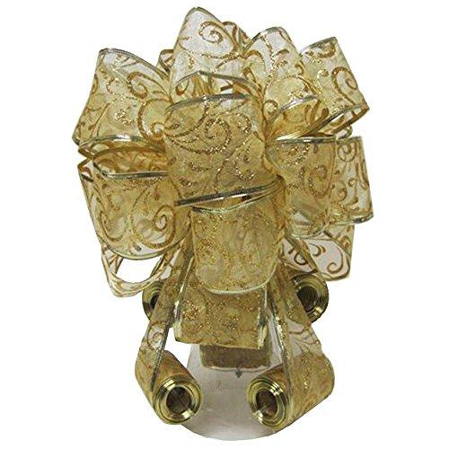 Elegant Decorative Christmas Tree Topper Bow, Gold