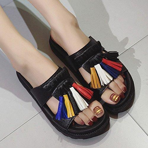 RAZAMAZA Mujeres Borlas Slingback Slide Sandalias Velcro 77 Negro