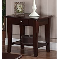 Poundex Contemporary Rich Gloss Wood Rectangular End Table with Drawer