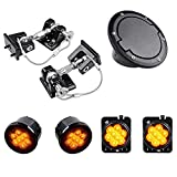 Combo Compatible for 2007-2017 Jeep Wrangler JK JKU LED Front Turn Signal Light + Fender Side Marker Lamp and Aluminum Hood Lock Catch Latches Hold Down with Fuel Cap Cover