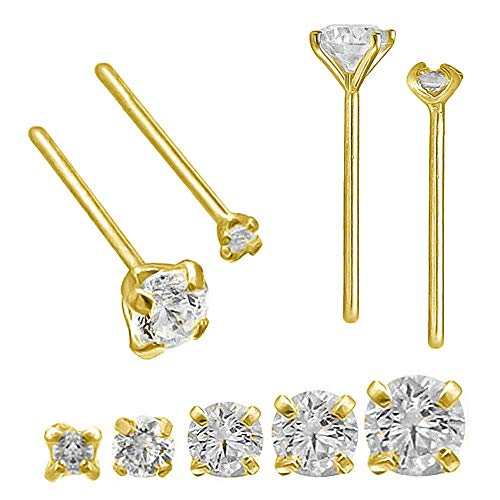 Solid 14Kt Gold Straight Nose Stud, 24G (0.5mm) Straight Nose Ring, 14kt Yellow Gold or 14kt White Gold Nose Ring Prong Set CZ Accent-Y2mm ()