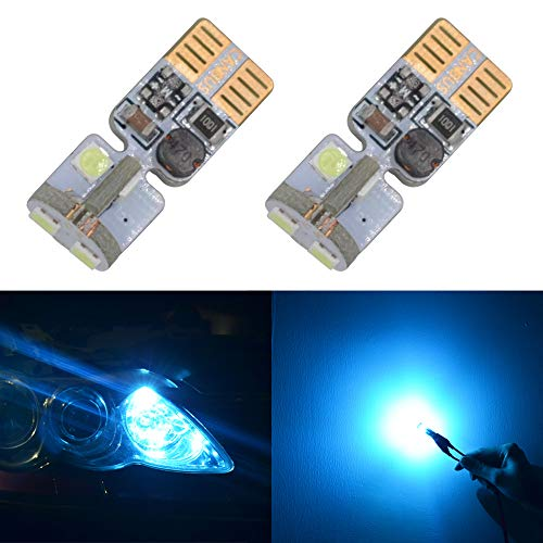 194 LED Bulb Canbus Error Free T10 W5W 168 194 2825 Ice Blue Bulbs for 12V Car Dome Side Marker License Plate Wedge Interior Lights(Pack of 2)