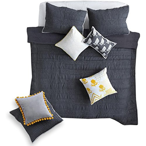 Jay St  Block Company West Elm Shanti Cotton Striped Binding Quilt Gray Queen