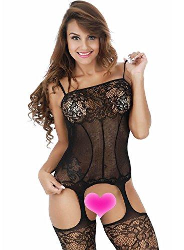 Young17 Sexy Lace Hollow out Spaghetti Strap Bodysuit Babydoll Lingerie with Stockings (Black)
