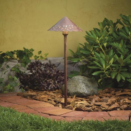 (KICHLER 15871TZT Design Pro LED Cast Hammered Roof 4W 12V Path Spread Landscape Light, Textured Tannery Bronze)