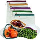 "The Original Eco Friendly Washable and Reusable Produce Bags - Soft Premium Lightweight Cotton Muslin Canvas Large - 12"" X 14"" - Set of 5 (Red, Yellow, Green, Blue, Purple) 
