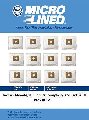 DVC Micro-Lined DVC Created HEPA Vacuum bags for Riccar Moonlight and Sunburst. Simplicity Jack and Jill Canisters Pack of 12 by DVC Micro-Lined