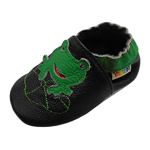 Yalion Baby Boys Girls Shoes Crawling Slipper Toddler Infant Soft Leather First Walking Moccasins (APPR. 12-18 Mos, Black & Frog)