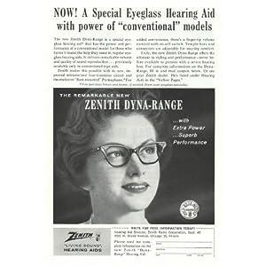 1961 Zenith Eyeglass Hearing Aid RARE Vintage Retro Magazine Advertising Vintage Ads