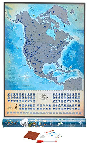 Deluxe North America Scratch Off USA Map, Wall Poster 18.5 x 27 Inches, Glow-In-The-Dark Feature, USA MAP, 100 Best Places To See, Flags and National Parks, Includes Pins, Scratcher and - National Holidays Weird