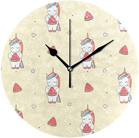 UKIO 掛け時計 置き時計 壁掛け時計 ユニコーン柄 スイカ 星柄 部屋装飾 壁時計 インテリア おしゃれ かわいい アート 部屋 ウォールクロック 円型