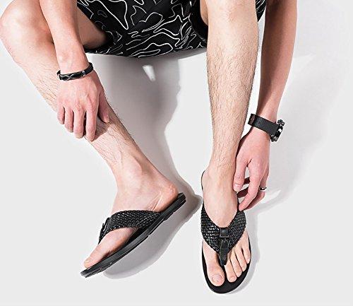 Zapatos Sandal Antideslizante 44 38 Sandalia sandalia Negro Diseño de Hombre Tamaño punto genuino suave abierto ZJM 41 de de Cómodo playa de Tamaño cuero cuero ROYfxwqx81