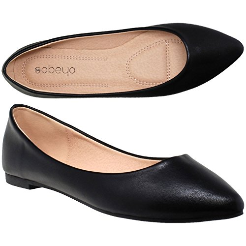 SOBEYO Women Ballet Flats Pointed Toe Slip On Cushioned Closed Toe Shoes Black Leather SZ 9