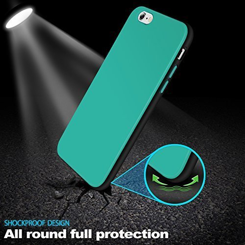 iPhone 6S Plus Case, LoHi Protective Durable TPU Case for Apple iPhone 6S Plus 5.5 Inch - Aqua Green/Black