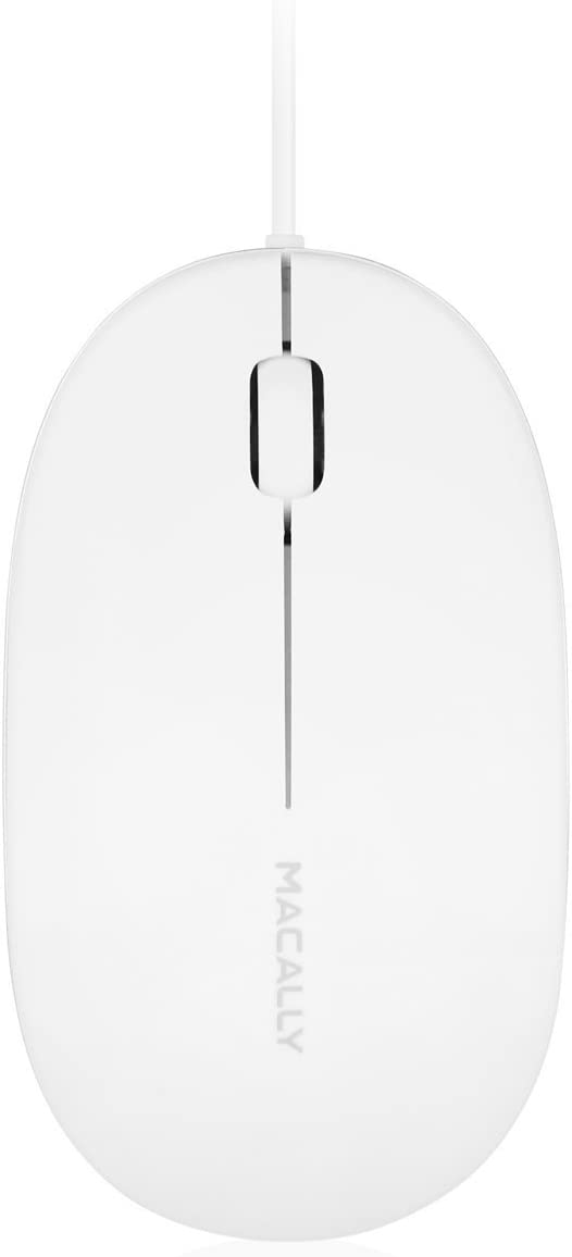 Macally 3 Button USB Optical Wired Computer Mouse 1000DPI with 5 foot cord, compatible with Mac, Macbooks, and Windows PC Laptops (ICEMOUSE2), White