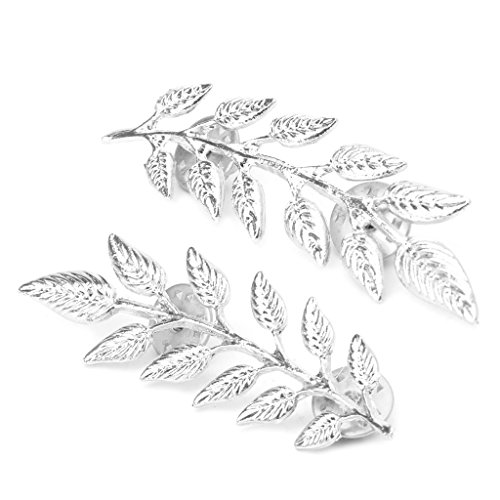 Dabixx 1 Piece Cufflinks Mens, Vintage Wheat Leaf Branch Gold Silver Plated Neck Tip Brooch Collar Pin - Silver from Dabixx