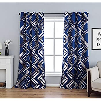 sgofais Moroccan Printed Blackout Curtains Bedroom - Grommet Thermal Insulated Room Darkening Living Room, Set of 2 Panels (52 x 84 Inch, Royal Blue)