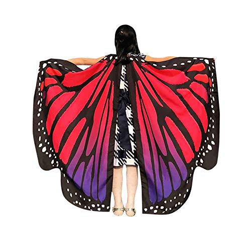 JOFOW Children Halloween Carnival Costume Butterfly Wings Gradient Party Festival Props Shawl Nymph Pixie Accessory (Freesize,Red Purple)