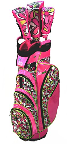 - Birdie Babe Pink Flowered Womens Golf Cart Bag with Head Covers