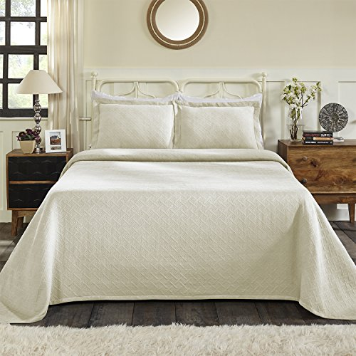 Blue Nile Mills 100% Cotton Basket Matelasse Twin Bedspread, Ivory