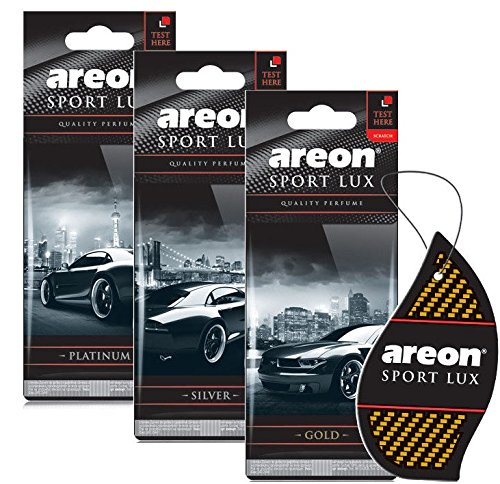 AREON Sport Lux Quality Perfume, Car & Home Air Freshener, Assorted Pack of 3 (Platinum, Silver, Gold)