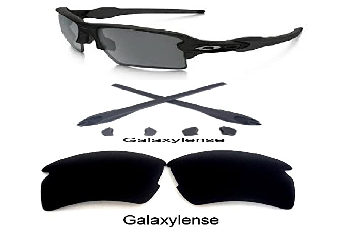 6626d769b39 Amazon.com  Galaxy Replacement Lens + Rubber Kits For Oakley Flak 2.0 XL  Sunglasses Black  Clothing