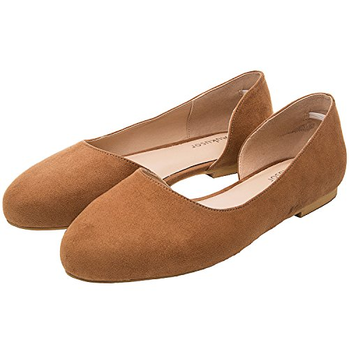 60fb5b2b2687 Aukusor Women s Wide Width Flat Shoes - Comfortable Classic Pointy Toe Slip  On Ballet Flat