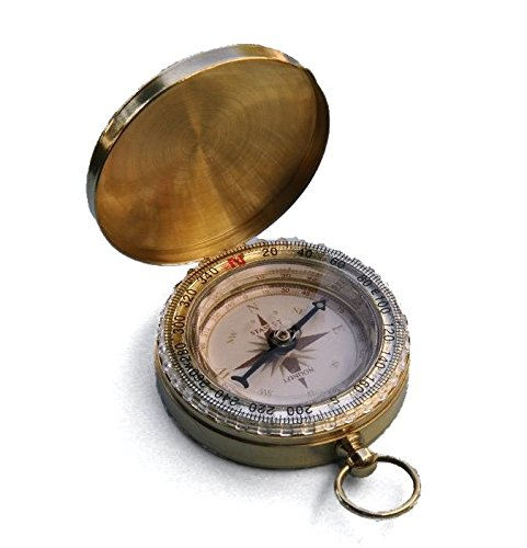 Engraved Solid Brass Wilderness Scouting Compass