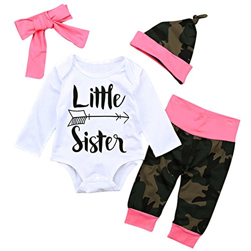 Styleroom Baby Girl Little Sister Camo Infant Jumpsuit Set w Headband Cap Pants, Army Green, Size 3-9 Months, 80 - Cute Army Girl Costumes Ideas