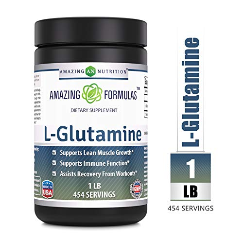 Amazing Nutrition Amazing Formulas L-Glutamine Powder Supplement - 1lb jar- 1g Per Scoop (Approx. 454 Servings)- Promotes Workout Recovery, Supports The Immune System & Muscle Maintenance* (Jarrow Powder L-glutamine)