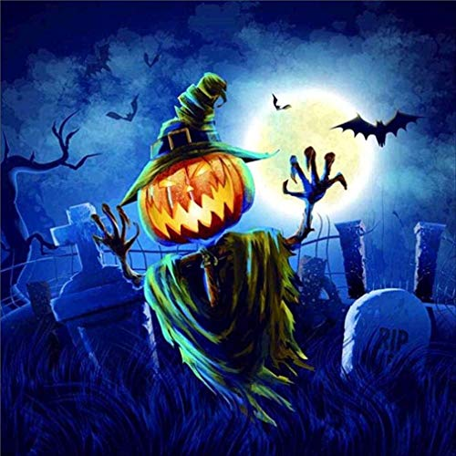 Windoson DIY 5D Diamond Painting Halloween - Decorative Pumpkins Embroidery Diamond Painting DIY 5D Diamond Counted Cross Stitch Kits Crystal Pictures Paint with Diamonds Kids Art Craft (B) -