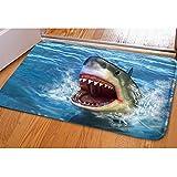 HUGSIDEA Shark 3D Printed Front Doormat Indoor Outdoor Rectangular Floor Mat for Bathroom Bedroom Kitchen Living Room