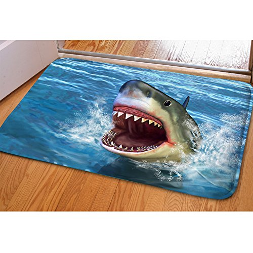 HUGS IDEA Shark 3D Printed Front Doormat Indoor Outdoor Rectangular Floor Mat for Bathroom Bedroom Kitchen Living -